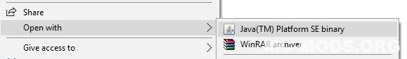 open installer with java